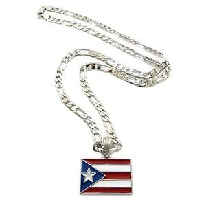 Puerto Rico Flag pendant and chain set